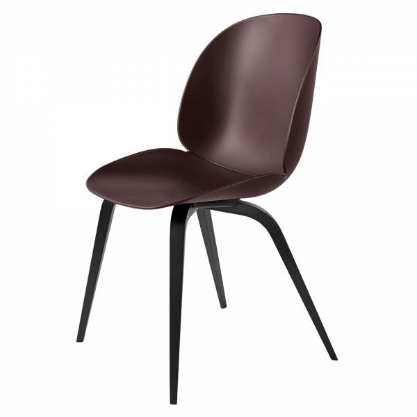 Beetle Dining Chair - Dark Pink, Black Stained Beech Legs