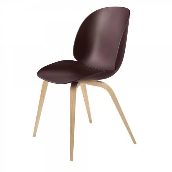 Beetle Dining Chair - Dark Pink, Oak Legs