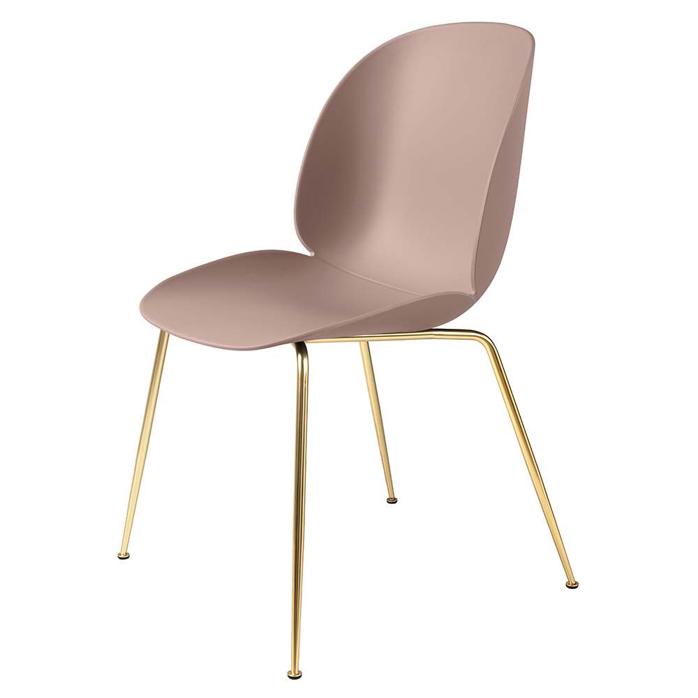 Beetle Dining Chair   Sweet Pink, Brass