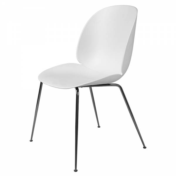 Beetle Dining Chair - White, Black Chrome