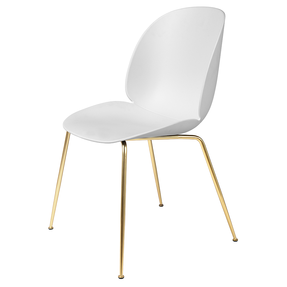 Beetle Unupholstered Dining Chair White Brass Base