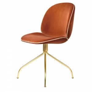 Beetle Meeting Chair - Red Velvet, Pink Velvet Piping, Brass Swivel Base