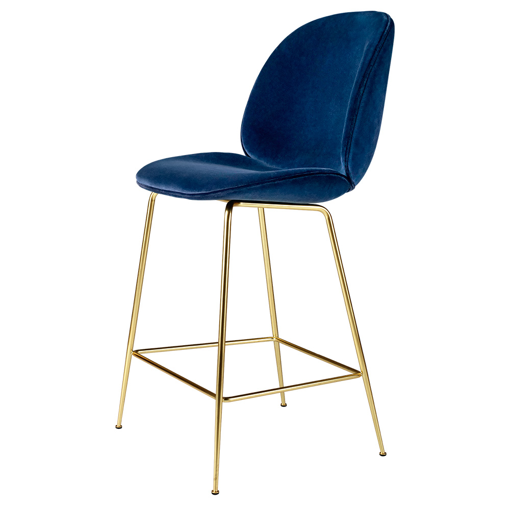 Etonnant Beetle Upholstered Counter Chair   Blue Sapphire Velvet, Brass Legs
