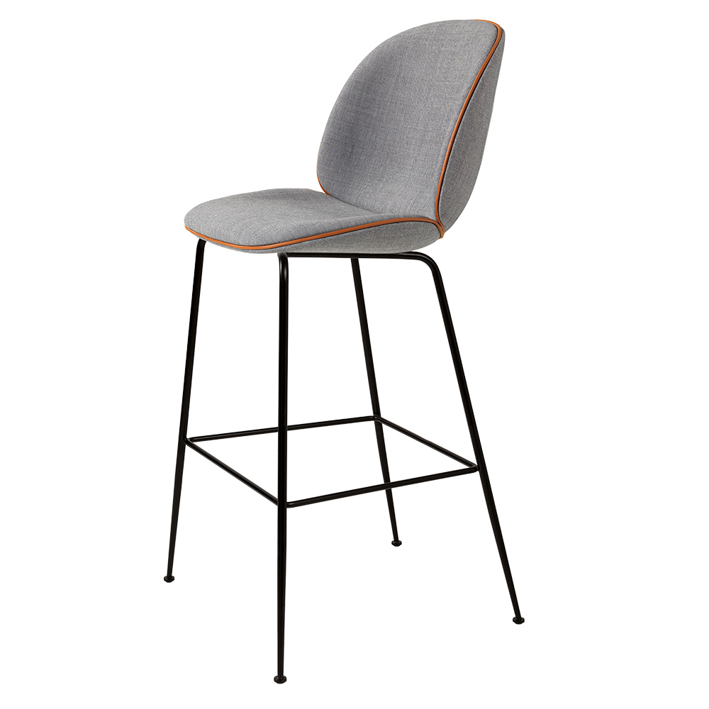 Awesome Beetle Fully Upholstered Counter Chair Gray Cognac Piping Black Base Lamtechconsult Wood Chair Design Ideas Lamtechconsultcom