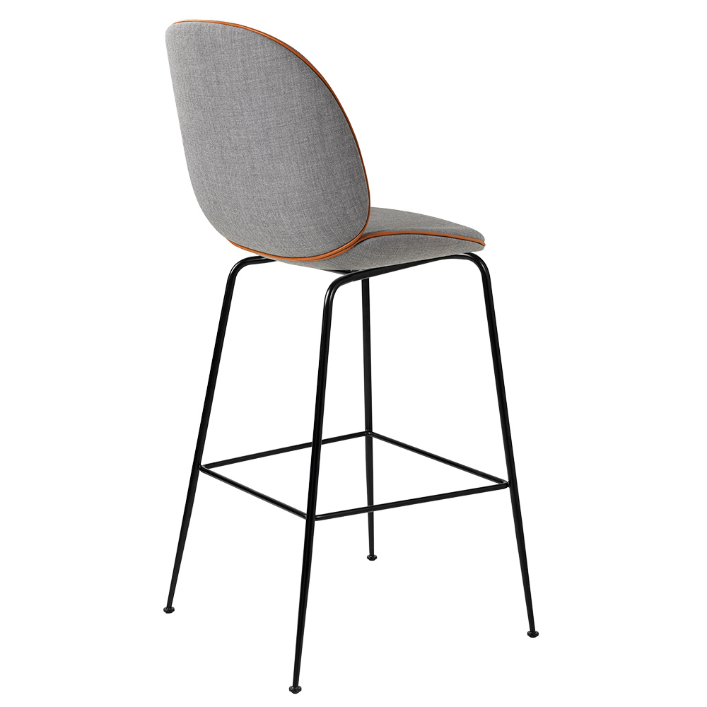 Incredible Beetle Fully Upholstered Counter Chair Gray Cognac Piping Black Base Lamtechconsult Wood Chair Design Ideas Lamtechconsultcom