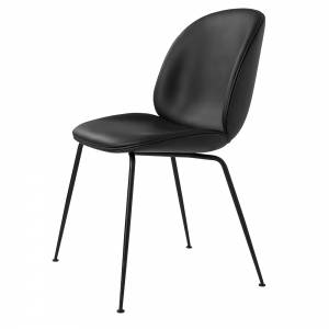 Beetle Upholstered Dining Chair - Black Leather, Black Legs