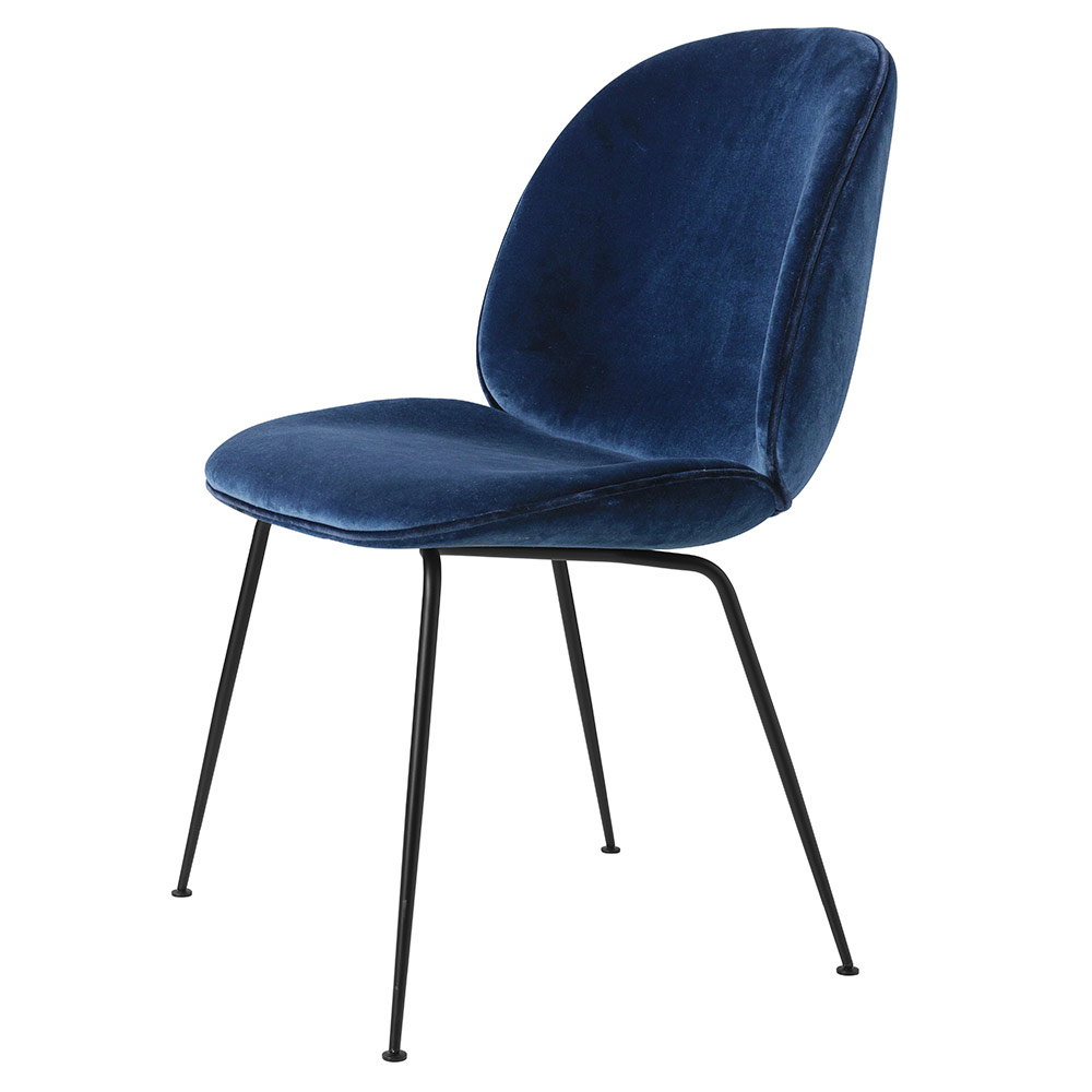 beetle fully upholstered dining chair blue sapphire velvet black base rouse home. Black Bedroom Furniture Sets. Home Design Ideas