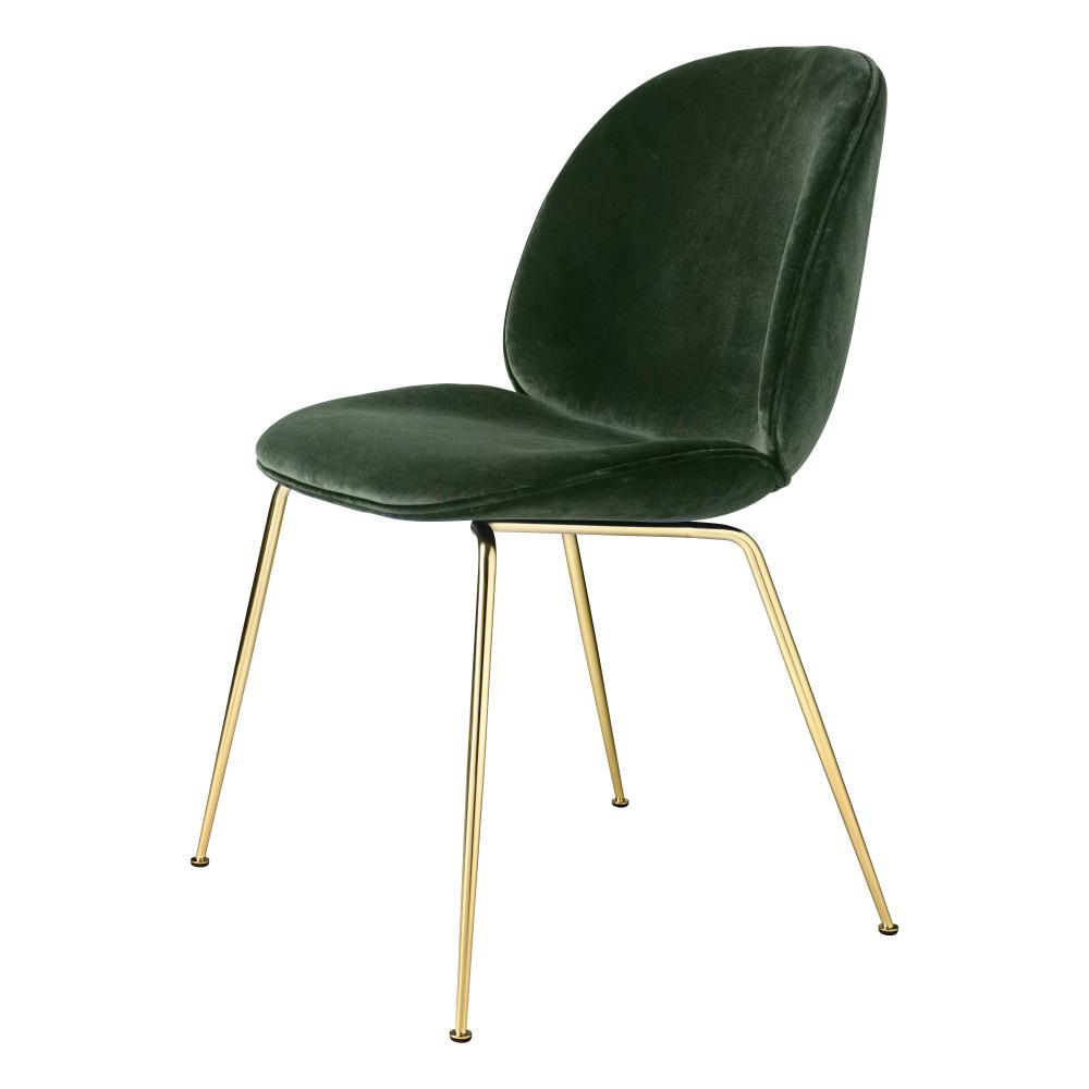 Beetle Upholstered Dining Chair   Green Velvet, Brass Legs