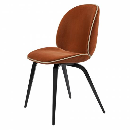 Beetle Upholstered Dining Chair - Orange Velvet, Sierra Piping, Black Stained Beech Legs