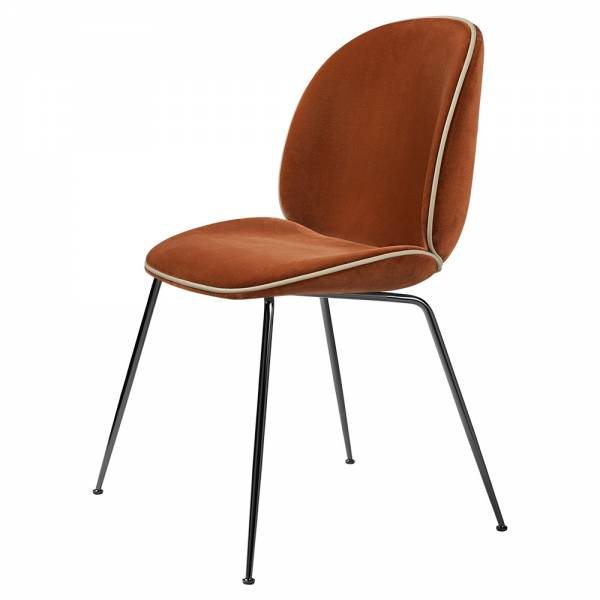 Beetle Fully Upholstered Dining Chair - Rusty Red, Sierra Piping, Conic Base | Rouse Home
