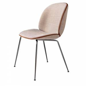 Beetle Upholstered Dining Chair - Pink, Cognac Piping, Black Chrome Legs