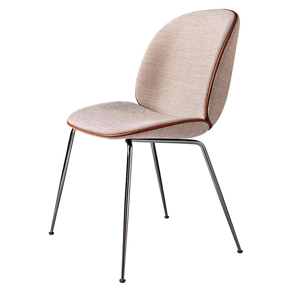 upholstered dining chairs wood beetle upholstered dining chair pink cognac piping black chrome legs fully