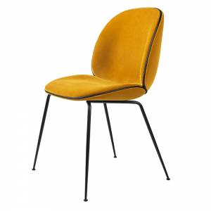 Beetle Upholstered Dining Chair - Yellow Velvet, Black Leather Piping, Black Legs