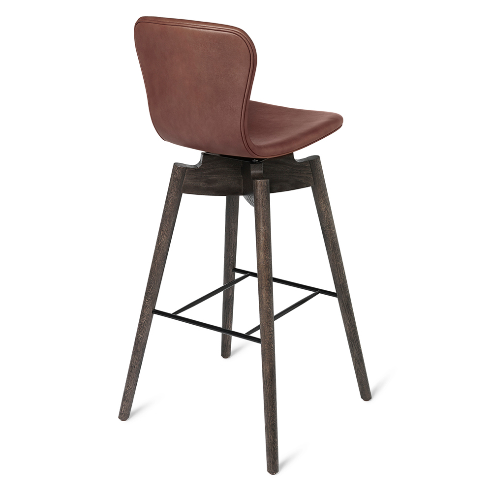 Shell Bar Stool Cognac Leather Brown
