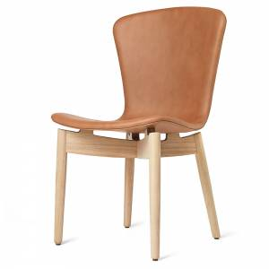 Shell Dining Chair - Brandy Leather, Beige Oak