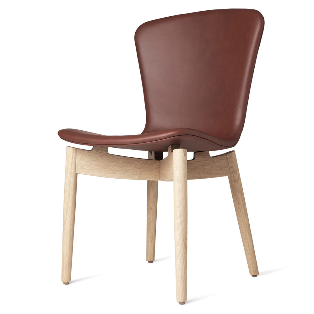 Shell Dining Chair Cognac Leather Beige Oak Rouse Home