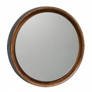 Sophie Mirror Large - Beige Wood, Black Leather