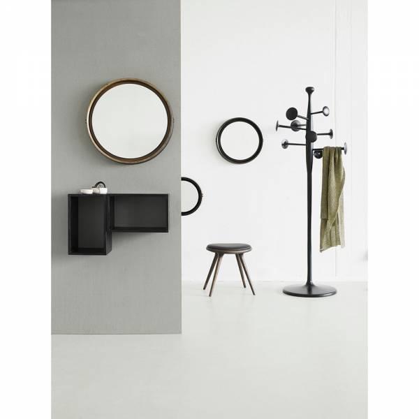 Sophie Mirror Large - Beige Wood, Black Leather