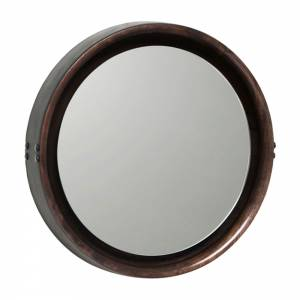 Sophie Mirror Medium - Brown Wood, Black Leather