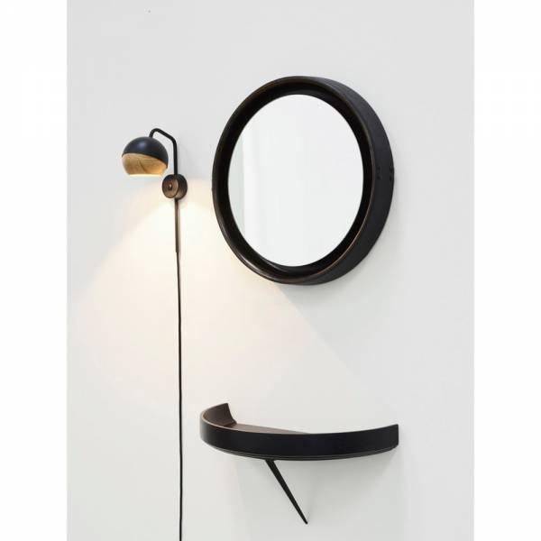 Sophie Mirror Medium - Brown Wood, Black Leather