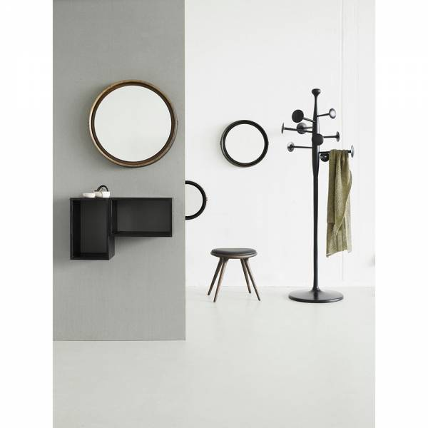 Sophie Mirror Small- Black Wood, Brown Leather