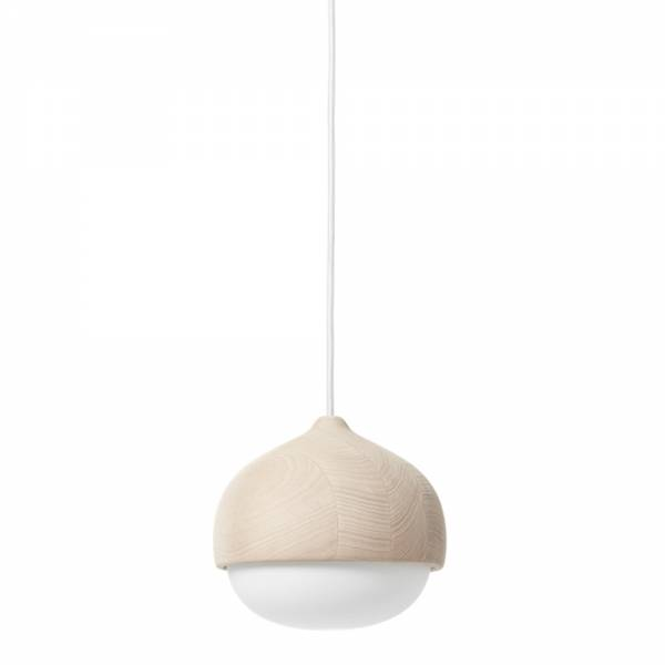 Terho Pendant Medium - Opal Glass, Beige Wood