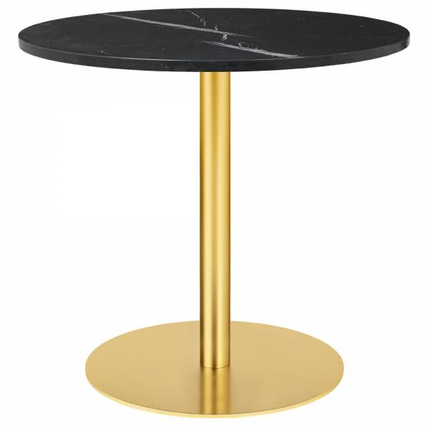 1.0 Round Dining Table - Black Marble, Brass
