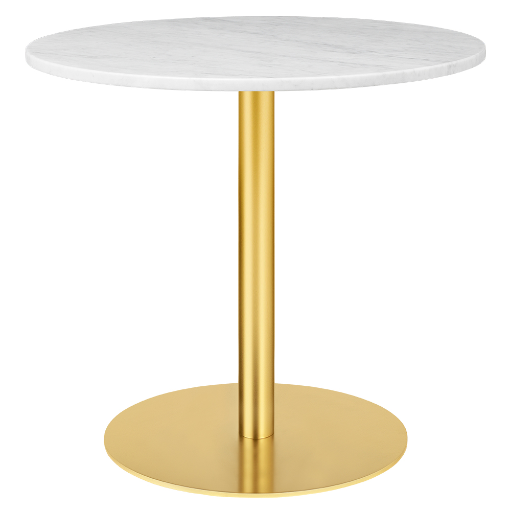 1 0 Round Dining Table White Marble Brass Rouse Home