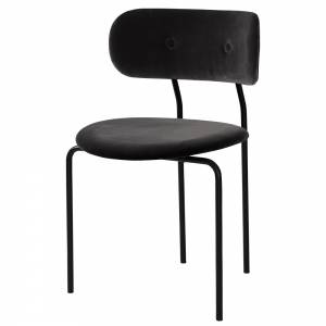 Coco Dining Chair - Black Velvet, Black Base