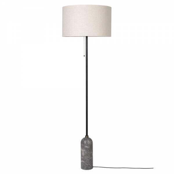 Gravity Floor Lamp - Gray Marble, Canvas Shade