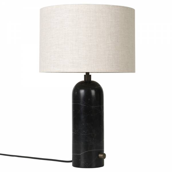 Gravity Table Lamp - Black Marble, Canvas Shade