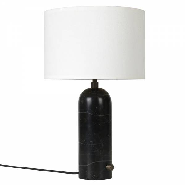 Gravity Table Lamp - Black Marble, White Shade