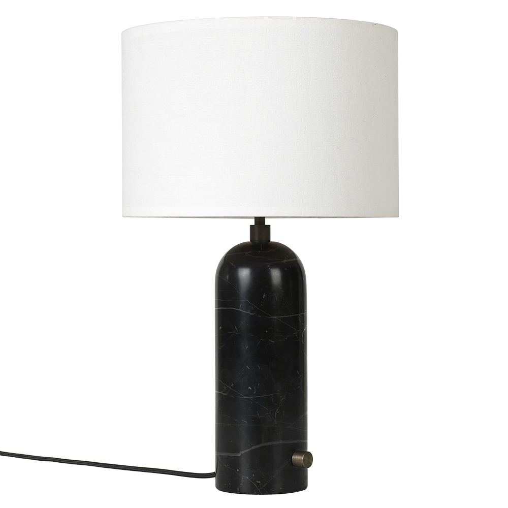 Gravity Table Lamp Black Marble White Shade Rouse Home