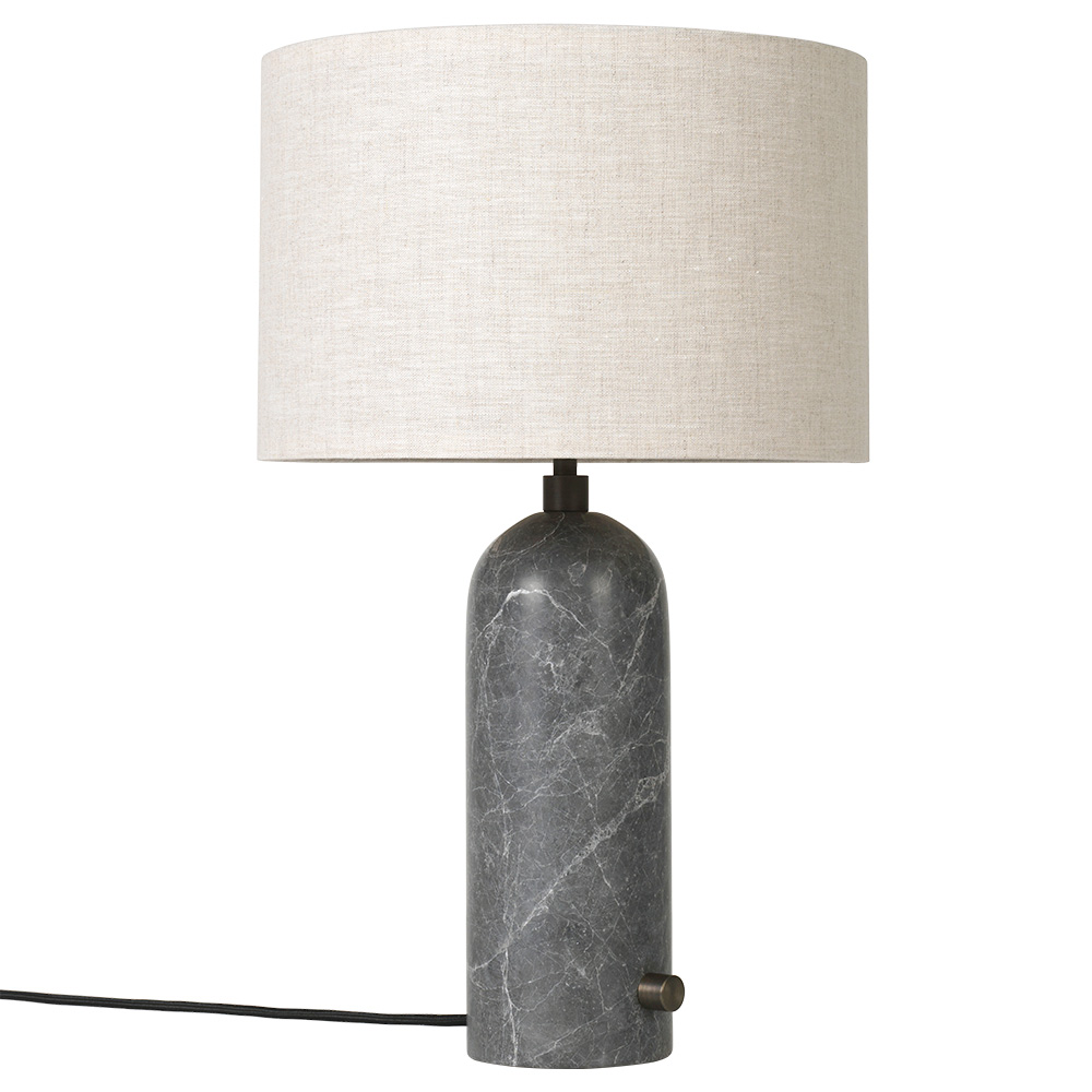 Gravity Table Lamp Gray Marble Canvas Shade Rouse Home