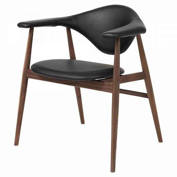Masculo Fully Upholstered Dining Chair - Black Leather, American Walnut Base
