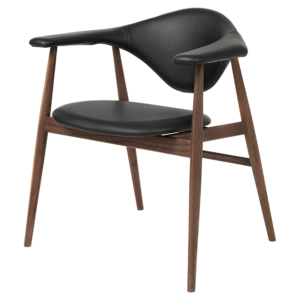 Masculo Fully Upholstered Dining Chair Black Leather American Walnut Base Rouse Home