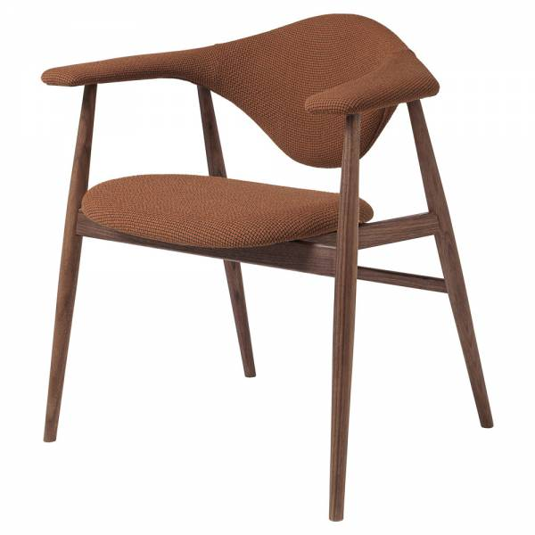 Masculo Fully Upholstered Dining Chair - Brick Wool, American Walnut Base