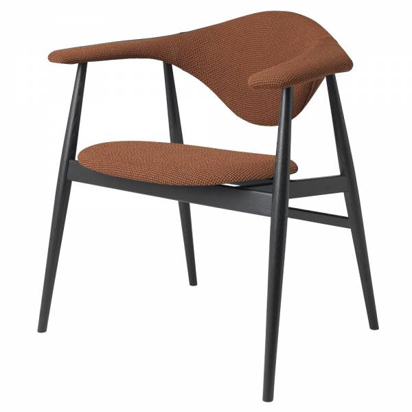 Masculo Fully Upholstered Dining Chair - Brick Wool, Black Stained Ash Base