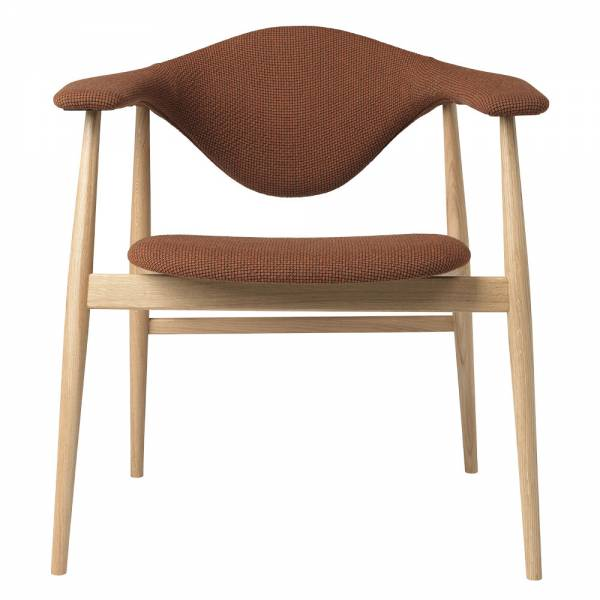 Masculo Fully Upholstered Dining Chair - Brick Wool, Oak Base