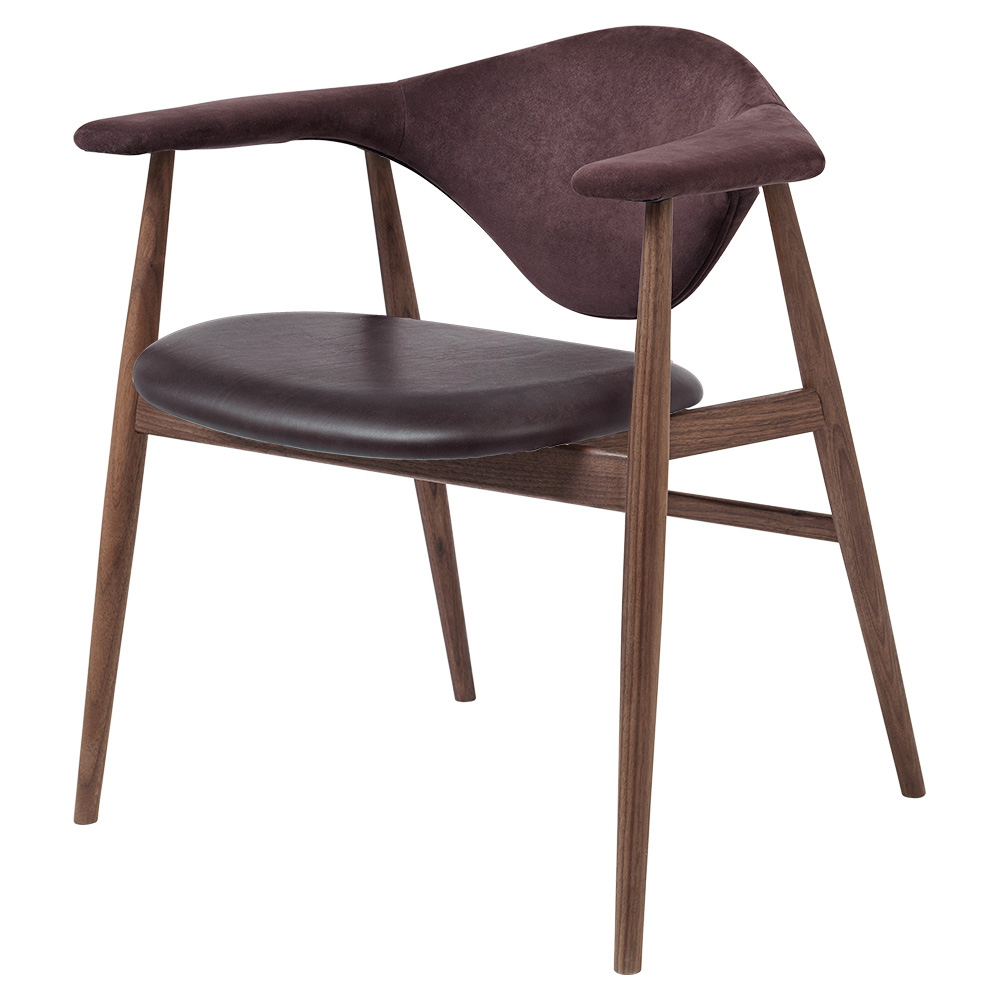 Masculo Fully Upholstered Dining Chair Dark Pink American Walnut Base