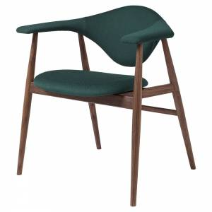Masculo Fully Upholstered Dining Chair - Green Cotton, American Walnut Base
