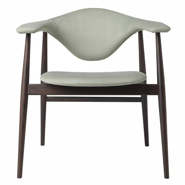 Masculo Fully Upholstered Dining Chair - Light Green, Smoked Oak Base