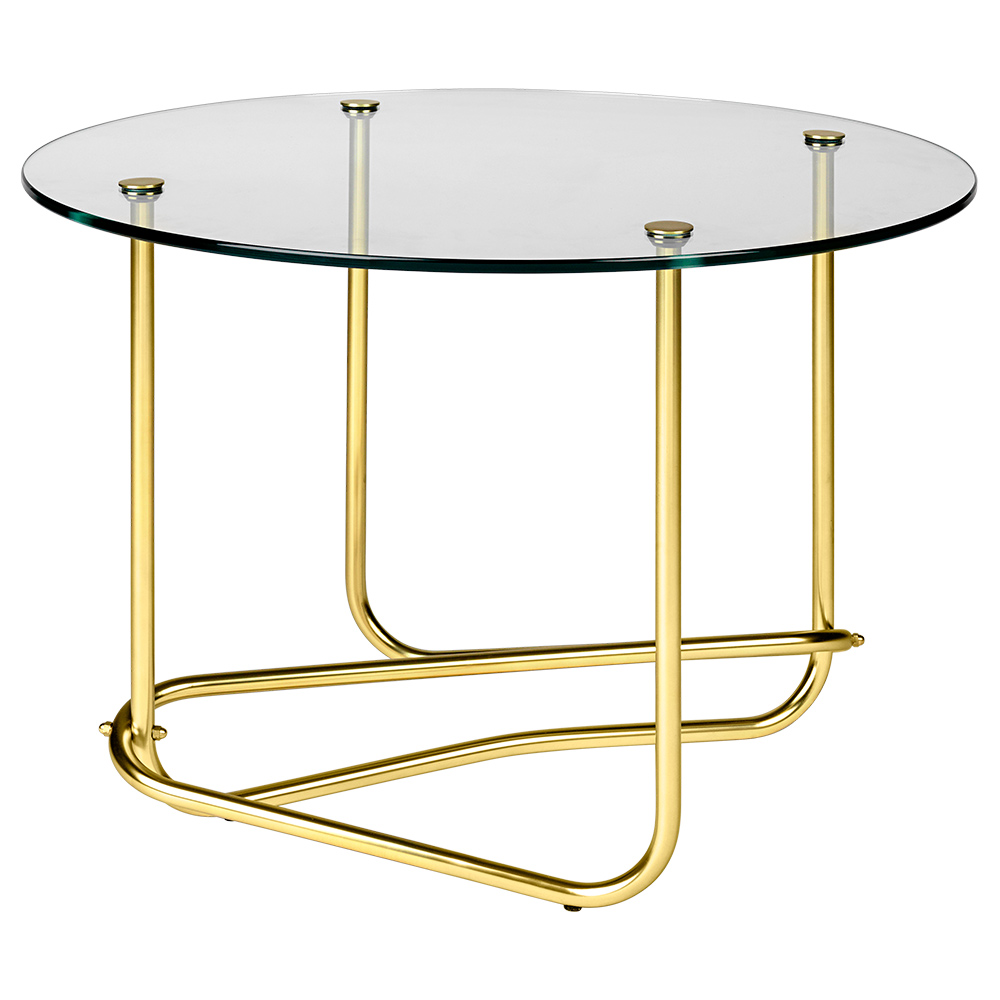 Mategot Coffee Table Clear Glass Brass Rouse Home