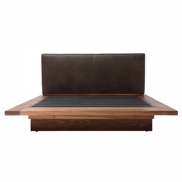 SQB Bed - Blackbean Leather, Walnut