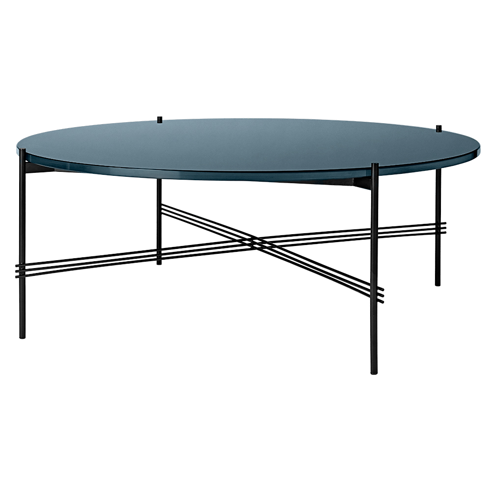 Ts Round Coffee Table Large Gray Blue Glass Black Rouse Home