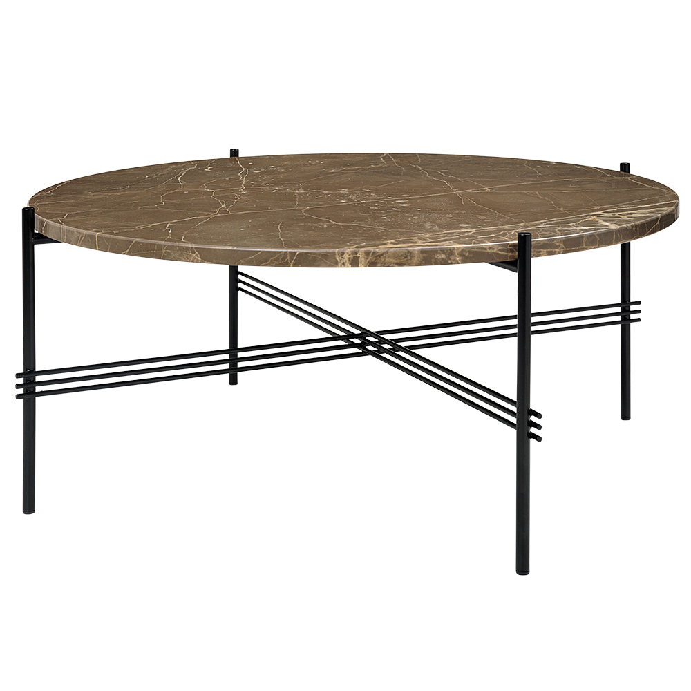 Ts Round Coffee Table Medium Brown Marble Black