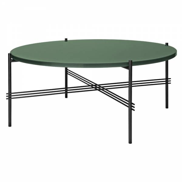TS Round Coffee Table Medium - Dusty Green Glass, Black