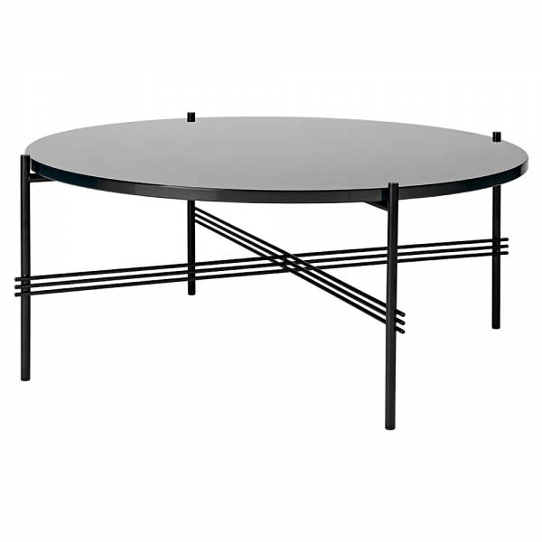 TS Round Coffee Table Medium - Graphite Black Glass, Black