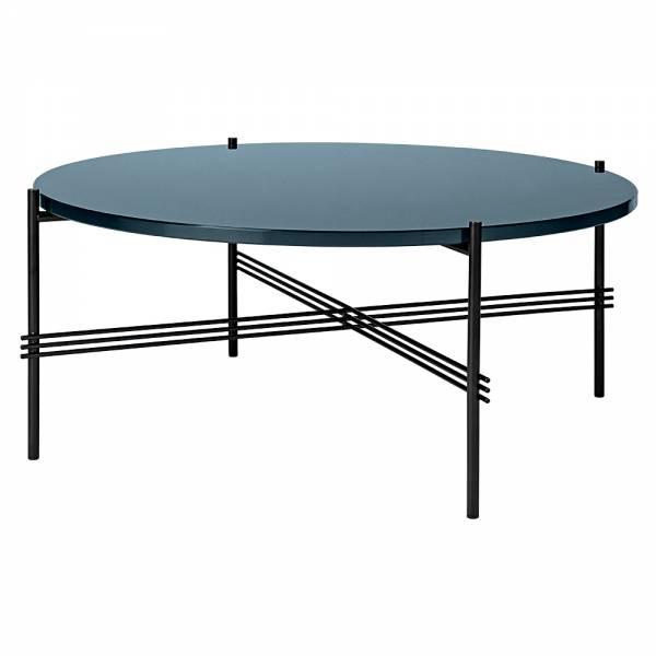 TS Round Coffee Table Medium - Gray Blue Glass, Black
