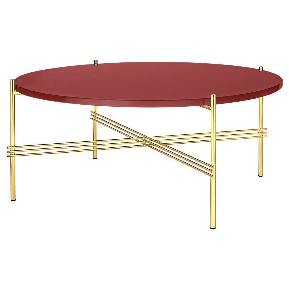 Ts Round Coffee Table Medium Rusty Red Glass Brass Rouse Home
